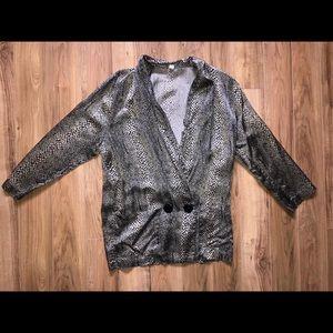 Sweaters - Vintage Leopard Print Silk Cardigan